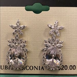 Napier cubic Zirconia post earrings silver tone